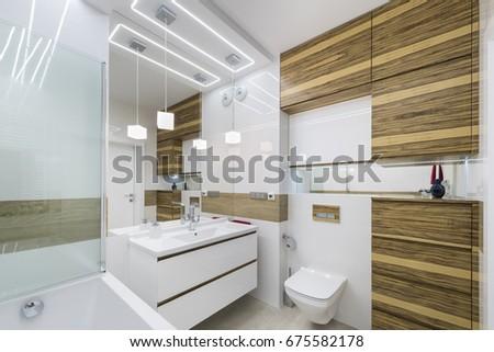 Modern Bathroom Interior Design With Wooden Finish