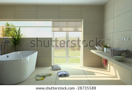 modern bathroom interior with a  tub (3D rendering) - stock photo