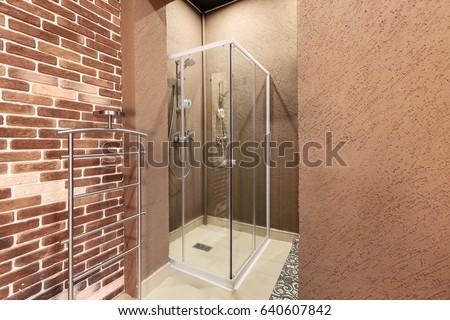 Modern Bathroom Interior Shower Cubicle Spa Stock Photo (Royalty ...