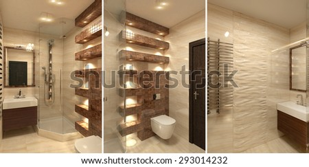 Modern bathroom Interior with shower 3D rendering