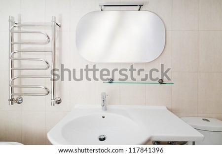 Modern Bathroom Interior With Sinks And Toilet Front View