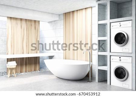 Modern Bathroom Interior Wooden Walls Concrete Stock Illustration