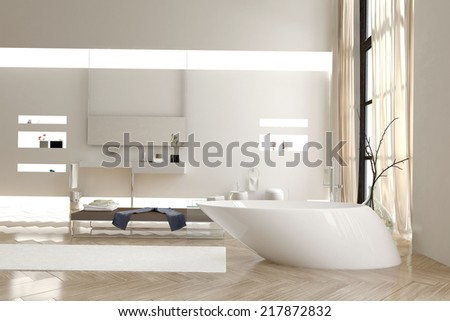 Modern bathroom with a funky white bathtub and wall mounted vanity units and cabinets with a bright airy double volume and large window in a luxury residence - stock photo