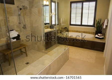 Modern bathroom with a spacious tub and shower.