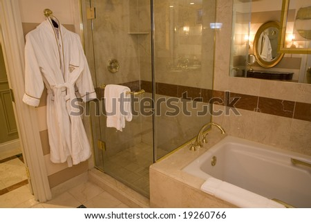 Modern bathroom with a spacious tub and shower. - stock photo