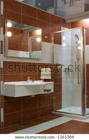 Modern bathroom with brown ceramics