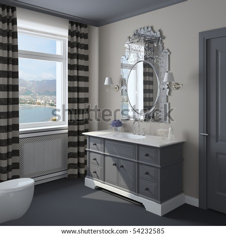 Modern bathroom with large mirror. 3d render. - stock photo