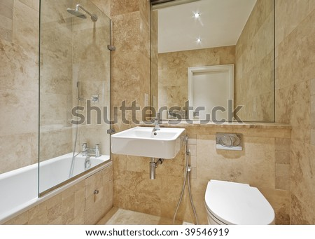 Modern Bathroom Light Brown Marble Natural Stock Photo (Edit Now ...