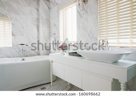 modern bathroom with nice decoration - stock photo