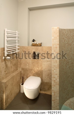 Modern bathroom with toilet - stock photo