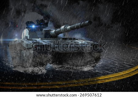 Modern battle tank moving night in rain mission - stock photo