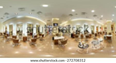 Modern beauty salon panorama blur background with bokeh - stock photo