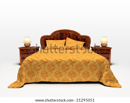 Modern bed isolated on white background 3D rendering - stock photo