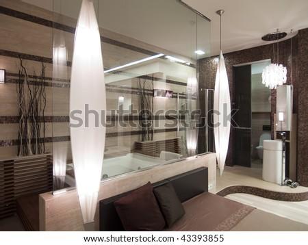 modern bedroom - stock photo