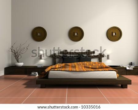 Modern bedroom in  ethnic style 3D rendering - stock photo