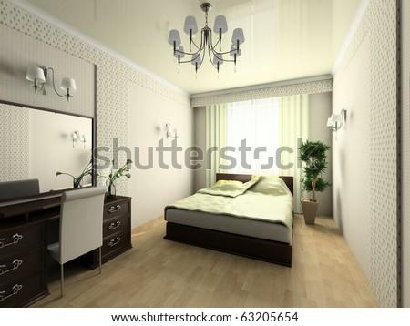 Modern bedroom in green tones 3d image - stock photo