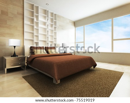 Modern bedroom in minimalist style - stock photo
