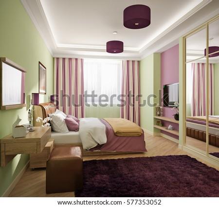 modern bedroom interior design 3d render