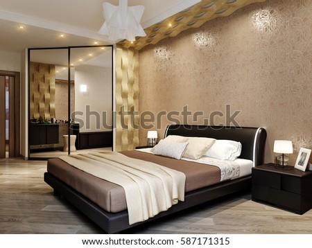 modern bedroom interior design 3d rendering