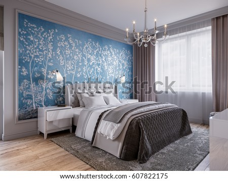 Modern bedroom interior design classic elements stock for Beautiful bedroom design hd images