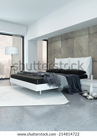 Modern bedroom interior with a double divan bed, paneled wall and large view windows with an urban view and a breakfast tray on the floor - stock photo