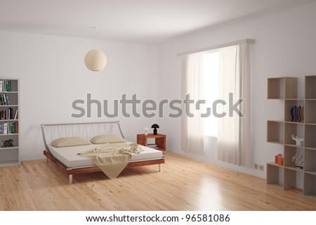 Modern bedroom interior with minimalistic furnishing in neutral colours on an uncarpeted hardwood floor. - stock photo