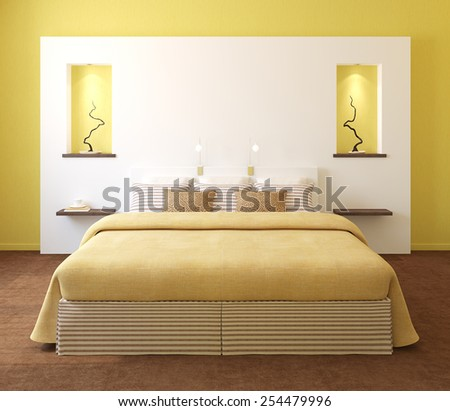 Modern bedroom interior with yellow walls and king-size bed. 3d render. - stock photo