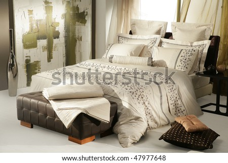 modern  bedroom interiors - stock photo