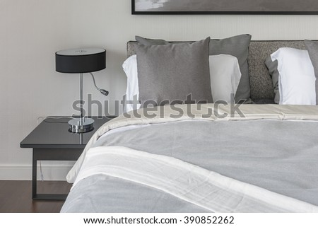 modern bedroom style with grey color tone design and modern lamp