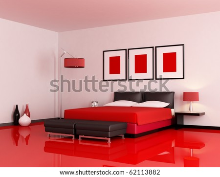 modern  bedroom with red floor and white wall - rendering - stock photo