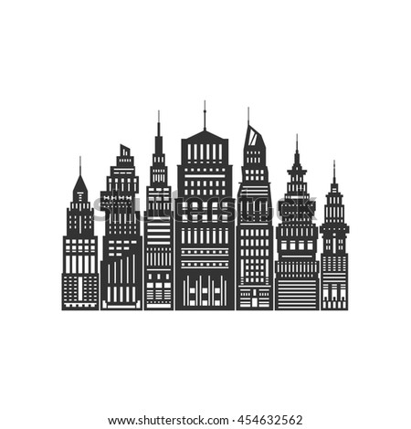Modern Big City with Buildings and Skyscraper, Architecture Megapolis, City Financial Center Isolated on White Background ,Black and White Illustration - stock photo