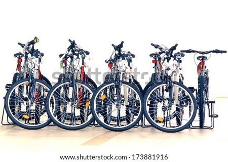 Modern bikes in the store. Low DOF  - stock photo
