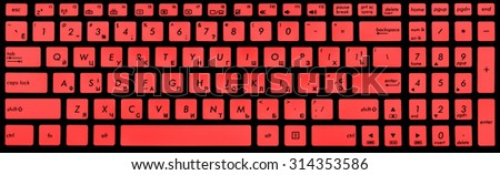 Modern black and red laptop keyboard isolated