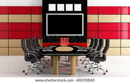 Modern black and red meeting-room  - rendering - stock photo
