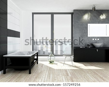 Modern black and white bathroom interior - stock photo