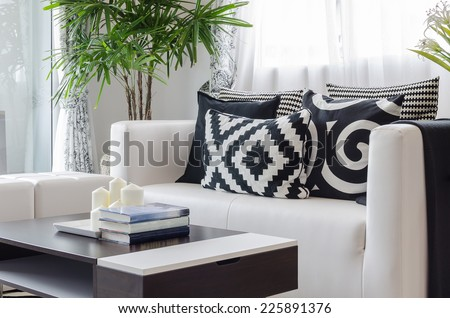modern black and white living room at home - stock photo
