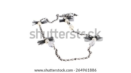 Modern black and white  necklace on the white background