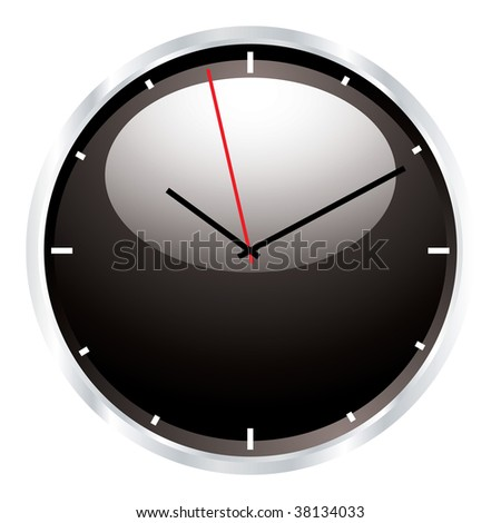 modern black clock with light reflection and silver bevel