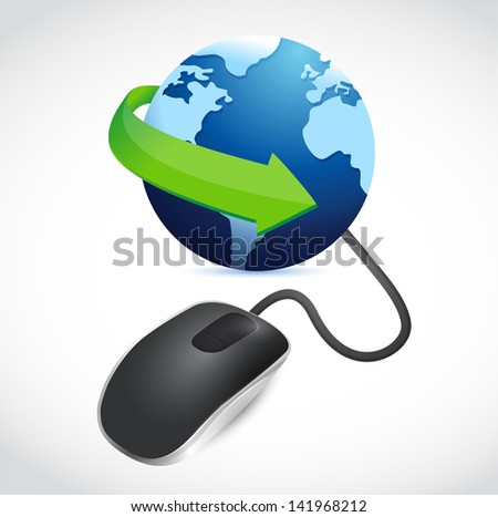 modern black computer mouse connected to a blue globe - stock photo