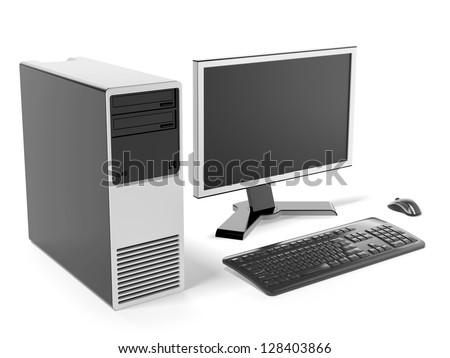 Modern black desktop computer - stock photo