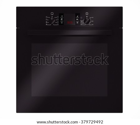 Modern Black Electric Oven on a white background. 3d rendering - stock photo