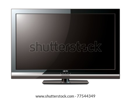 Modern black flat screen lcd television monitor with light reflection - stock photo