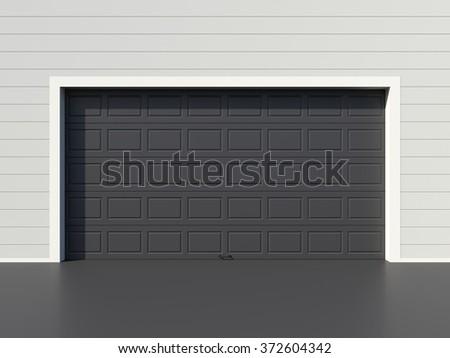Modern black garage door - stock photo
