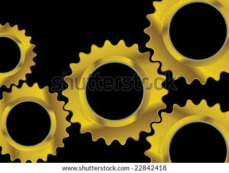 Modern black industrial background image with golden cogs