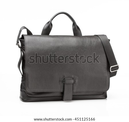 modern black leather men casual or business bag isolated on white background