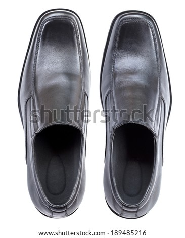 Modern black leather shoes, no shoe string, top view isolated on white background