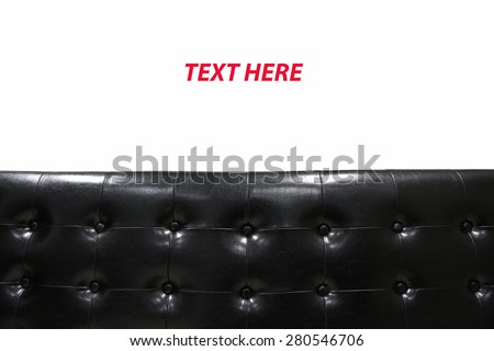 Modern black leather sofa isolated against white background, Interior building set in room.