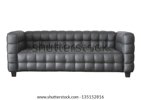 modern black leather sofa isolated on white. - stock photo