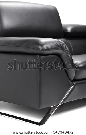 modern black leather sofa isolated on white  - stock photo