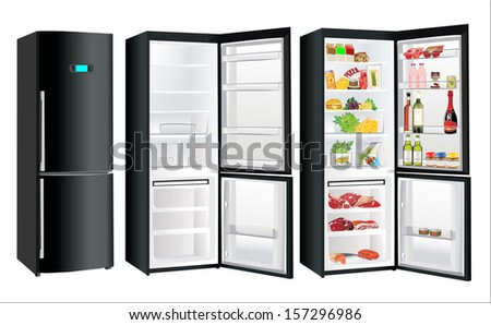 Modern black metallic refrigerator with touchscreen closed, open and empty, full with some kinds of food - vegetables, meat, fish - stock photo
